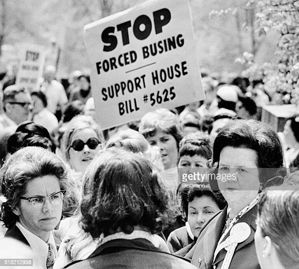 5/2/1973Boston MA Former Congresswoamn Louise Day Hicks joined a large gathering of demonstrators outside the State House 5/2 to protest busing of...