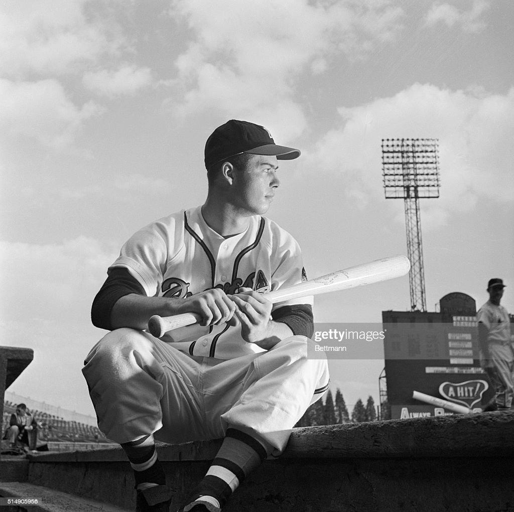Boston Braves Rookie Ed Mathews Waiting To Bat News Photo