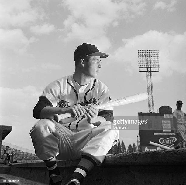 Ed Mathews 20yearold rookie third baseman of the Boston Braves while waiting for his turn at bat Lately Ed has been impresing baseball fans with his...