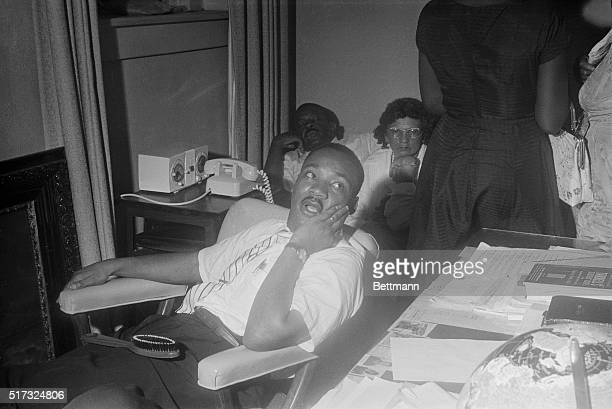 5/22/1961Montgomery AL Reverend Martin Luther King who led a successful bus boycott here three years ago discusses the current situation with newsmen...