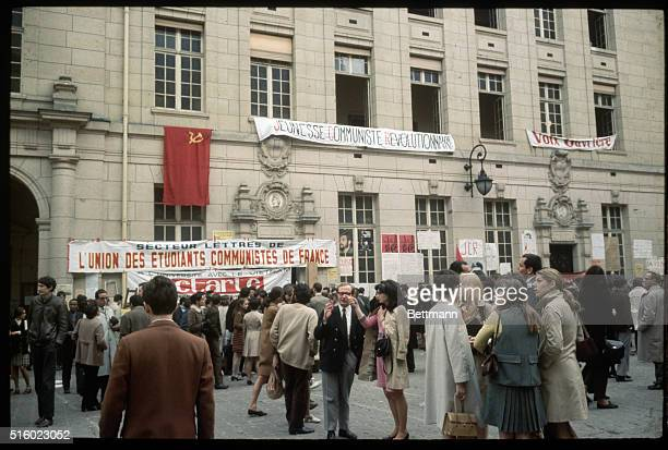 5/22/1968Paris France Striking students mingle on the grounds of Sorbonne University where they hung a portait of Mao TseTung a North Vietnamese flag...