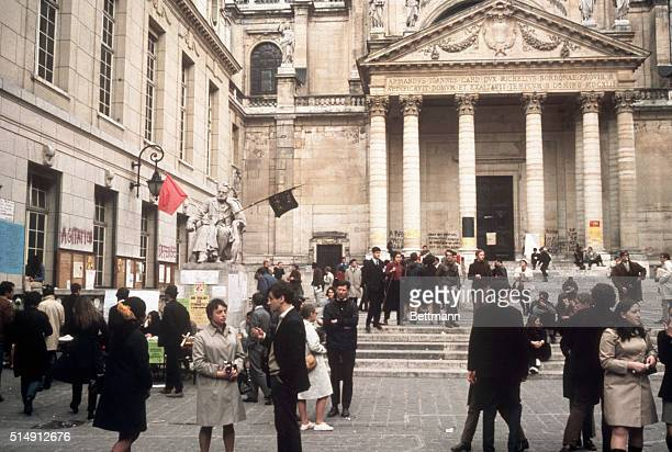 5/22/1968Paris France Striking students mingle on the grounds of Sorbonne University In the background is a statue of scientist Louis Pasteur...