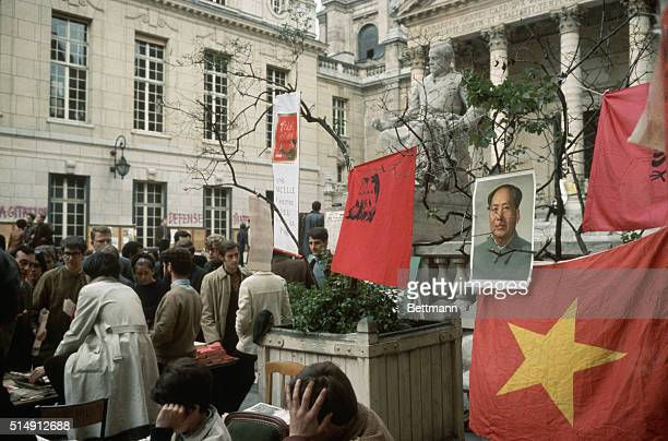 5/22/1968Paris France Striking students run away from the police on the grounds of Sorbonne University where they hung a portait of Mao TseTung a...