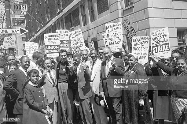 5/24/1959New York NY A mass picketing demonstration is in full sway before Mt Sinai Hospital at 100th St and Fifth Ave as members of the Abyssinian...