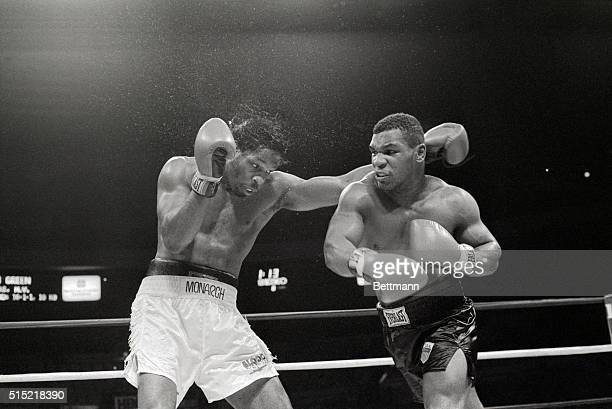 5/24/1986New York New YorkMike Tyson lands a right hook to Mitch Green's face during the eighth round of their heavyweight bout at Madison Square...