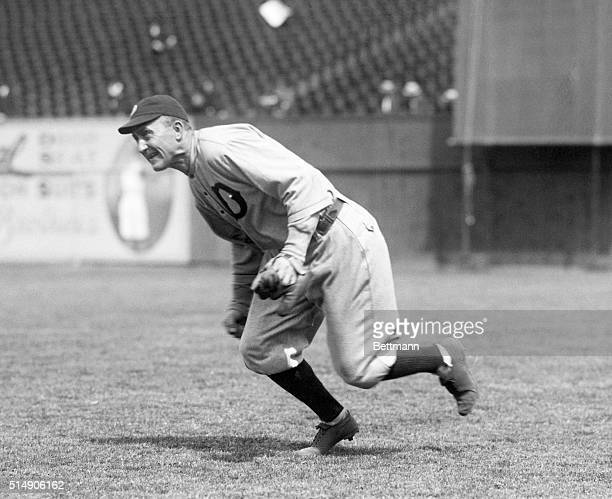 New York, NY: YANKEES VERSUS DETROITS AT POLO GROUNDS. Photo shows Ty Cobb, one of the main attractions of the Detroit Tigers, seen flying in the...