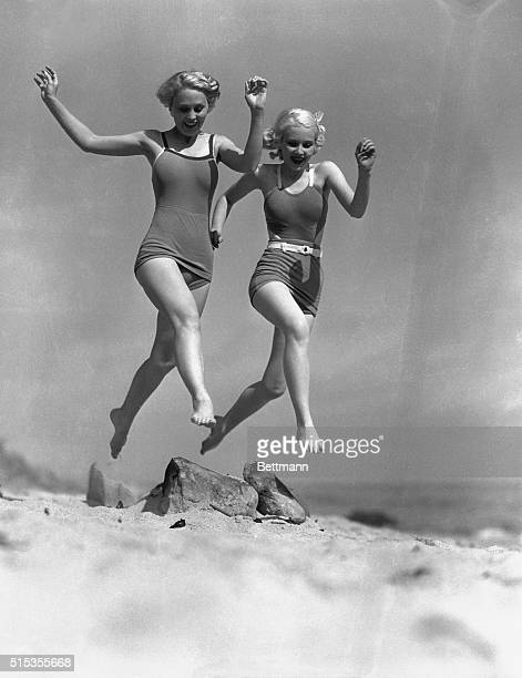 5/25/1933Malibu CA Elsie Larson and June Vlasek in playful mood at malibu June Vlasek is graduating from Beverly Hills High School and Mis Larson...