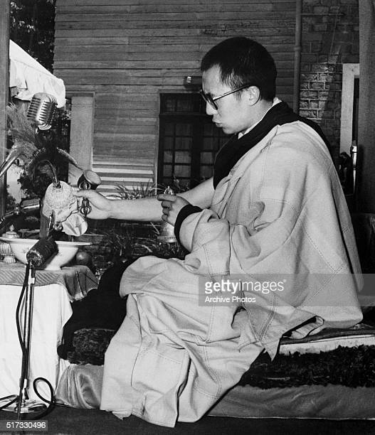 5/27/1959Mussoorie India In exile at Mussoorie India Tibet's Dalai Lama uses modern microphones and ancient religious objects to conduct a mass...