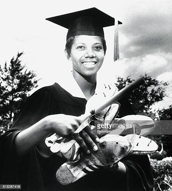TRACK SHOES FOR DIPLOMA Miss Wilma Rudolph Olympic Gold Medal Winner and track star received her diploma from Tennessee A I University 5/27 before a...