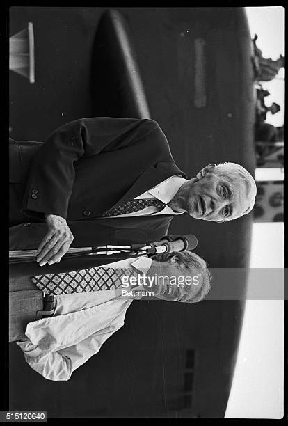 5/27/1977Port Canaveral FL President Jimmy Carter is rocked with laughter at a dockside press conference with Admiral Hyman Rickover The two had just...