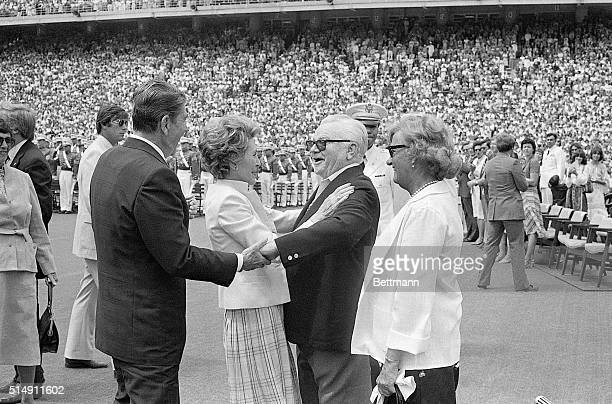 5/27/1981West Point NY President Ronald Reagan and wife Nancy greet their old friend film great James Cagney during graduation ceremonies 5/27 at the...