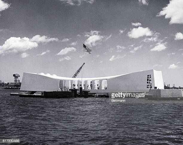 5/29/1962Pearl Harbor Hawaii The USS Arizona Memorial built atop the remains of the battleship Arizona which was sunk at the berth Dec 7 is shown...