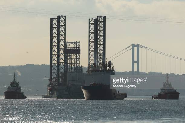 52meterlong and 110meterheight drilling platform passes through the Bosphorus in Istanbul Turkey on February 5 2018