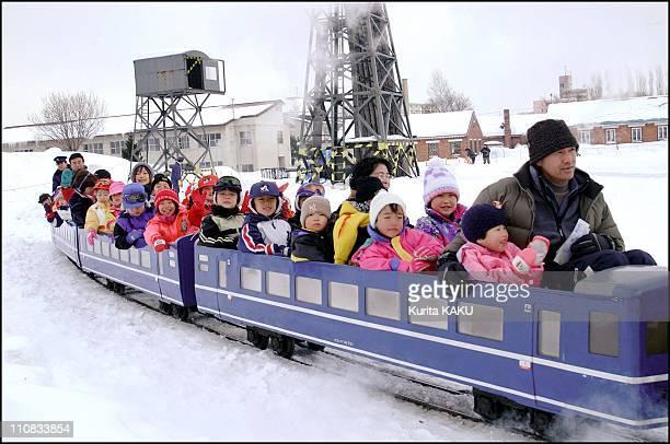 52Nd Sapporo Snow Festival In Japan On February 07 2001 Mini Steam Locomotive Ride at Makomanai