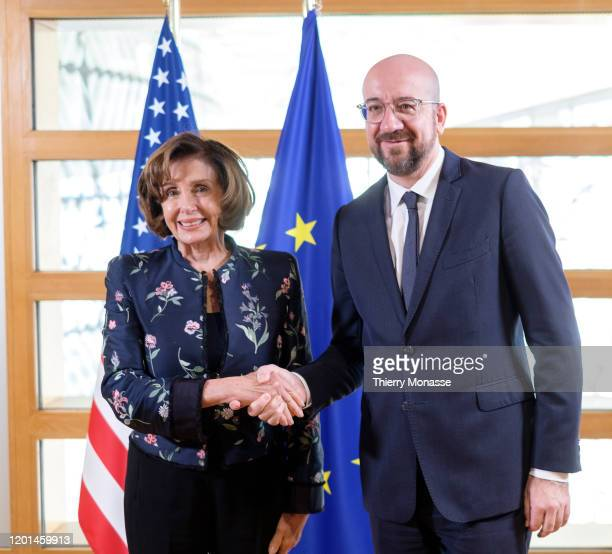 52nd Speaker of the United States House of Representatives Nancy Pelosi is welcomed by the President of the European Council Charles Michel prior to...