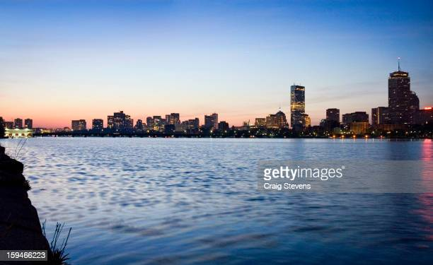 30am right before sunrise the city of Boston turns a fantastic shade of purple This is the Charles River from Cambridge view of Boston