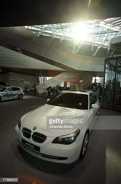BMW 530d car is displayed during the opening ceremony of BMW World on October 17 2007 in Munich Germany BMW World is a representative architecturally...