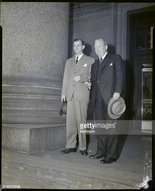 5/31/1949New York NY Alger Hiss former State Department executive who was adviser to President Roosevelt at Yalta in 1945 is shown with his attorney...