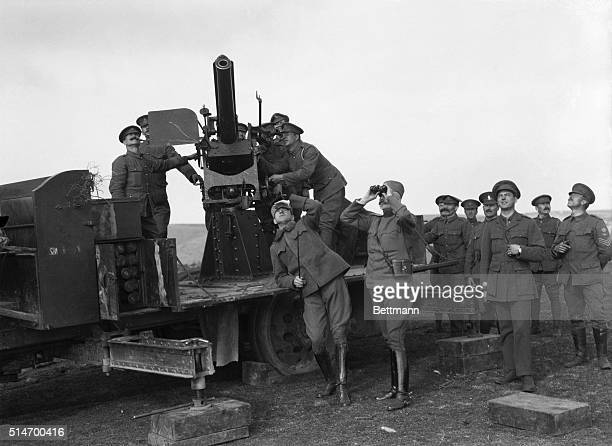 5/3/1916Watching a Taube with the AntiAircraft section Photo shows the gun crew and officers watching the approach of a Taube with everything ready...