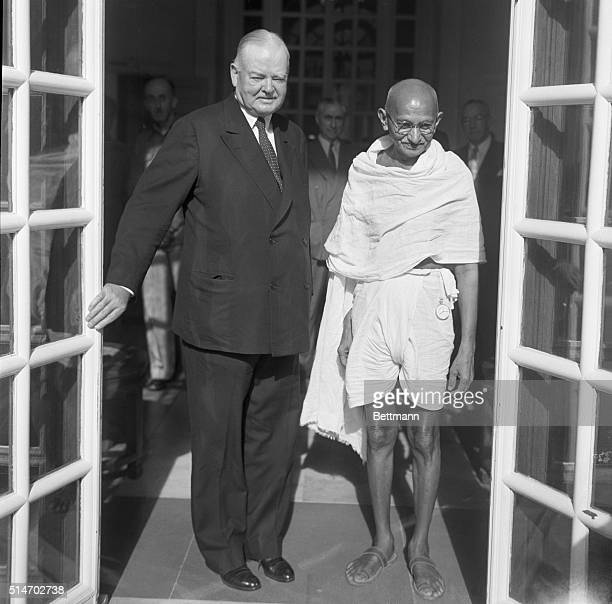 5/3/1949New Delhi India Herbert Hoover nearing the end of his worldwide investigation of food conditions leaves Viceroy Lord Wavell's house with...