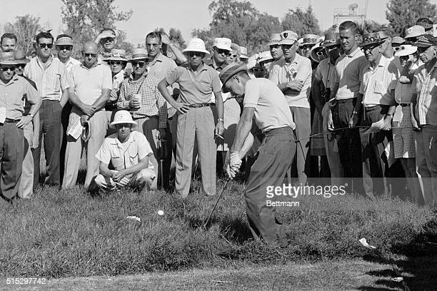 Las Vegas, NV- Butch Baird chips from heavy grass off the 18th green on the opening day of the 1962 Tournament of Champions. Baird, who held a...