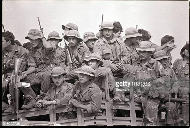 5/3/1984Santa Cruz Michapa El SalvadorGovernment paratroopers return from combat in El Salvador's northeastern department of Cabanas a guerrilla...