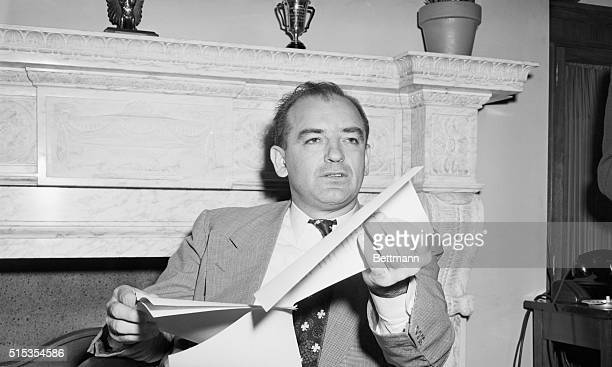 """Washington, DC- Senator Joseph R. McCarthy , who said today that a witness will testify that """"reports were discovered at the Ameriasia office which..."""