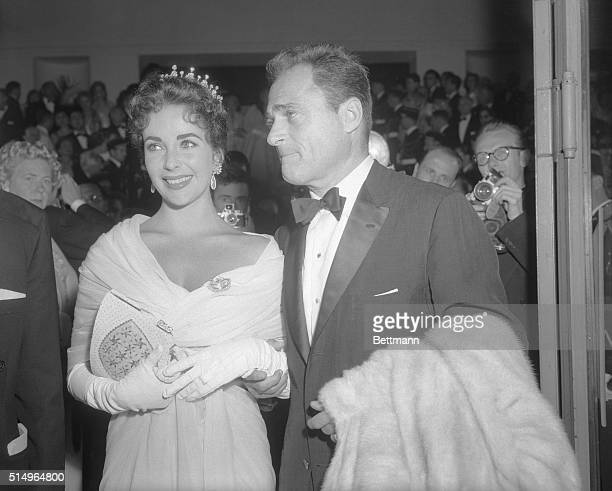 5/4/1957Cannes France Producer Mike Todd on top of the Cinema world and his wife actress Elizabeth Taylor at the International Film Festival in...