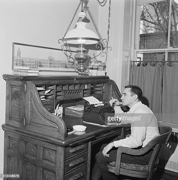 5/4/1963New York New York Working at the huge rolltop desk in his Greenwich Village apartment playwright Edward Albee thinks about the next line The...