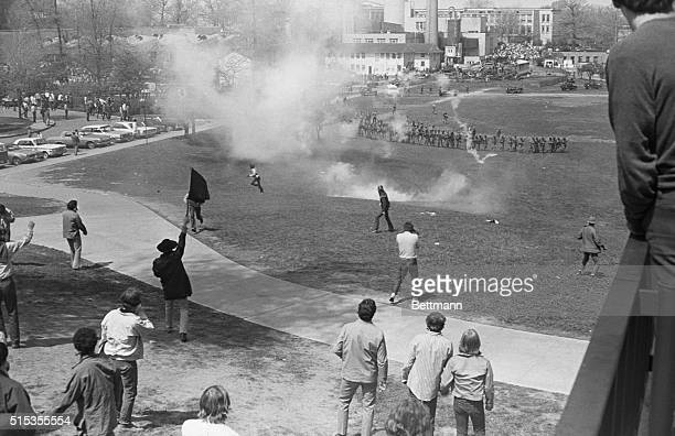 5/4/1970Kent OH Picture shows an aerial view of police firing tear gas on student protesters on the Kent State University