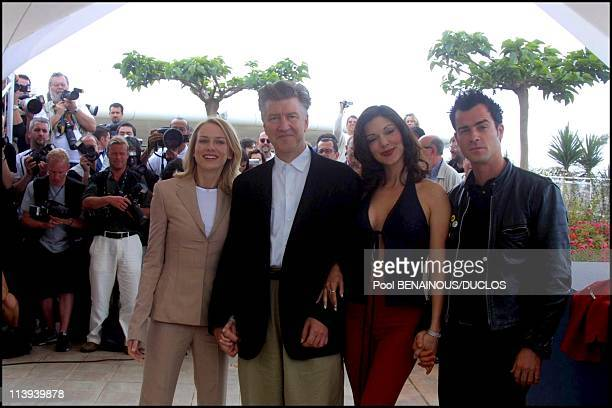 54th Cannes film festival Photocall of Mulholland Drive by David Lynch In Cannes France On May 16 2001Naomi Watts David Lynch Laura Elena Harring...