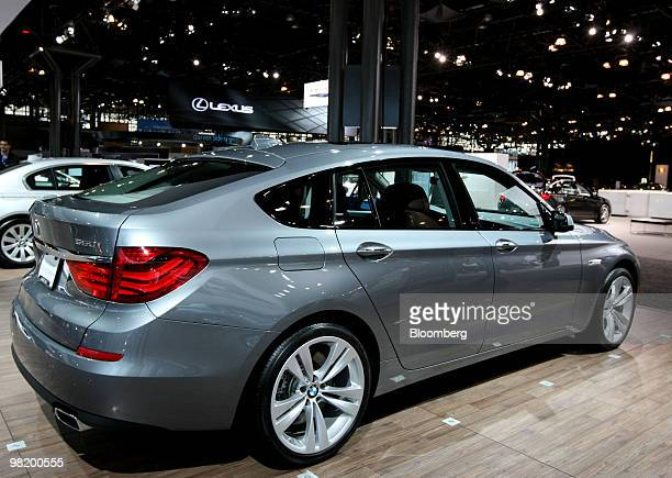 BMW 550i Gran Turismo sits on display during a media preview of the New York International Auto Show in New York US on Thursday April 1 2010 The show...