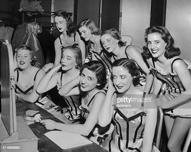 """New York, NY: Some of the pretty maids who formed the cast of """"Talk of the Town"""" revue held at the Waldorf Astoria last night in celebration of the..."""