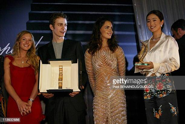 55th Cannes film festival Chopard Trophy at the Majestic hotel In Cannes France On May 17 2002Ludivine Sagnier Hayden Christensen Paz Vega Gong Li