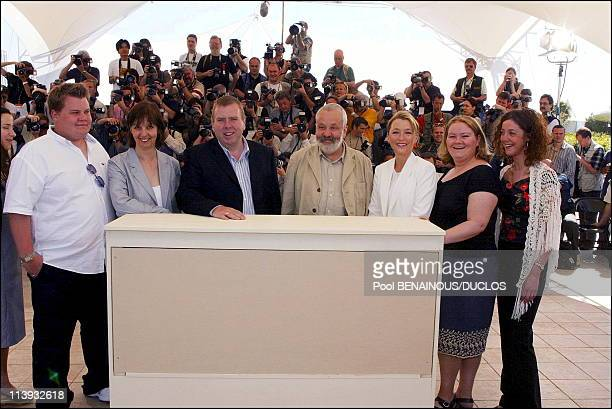 55th Cannes film festival Photocall of 'All or nothing' In Cannes France On May 17 2002James Corden Ruth Sheen Timothy Spall Mike Leigh Lesley...