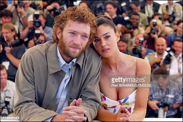 55th Cannes film festival Photocall of Irreversible In Cannes France On May 24 2002Vincent Cassel Monica Bellucci