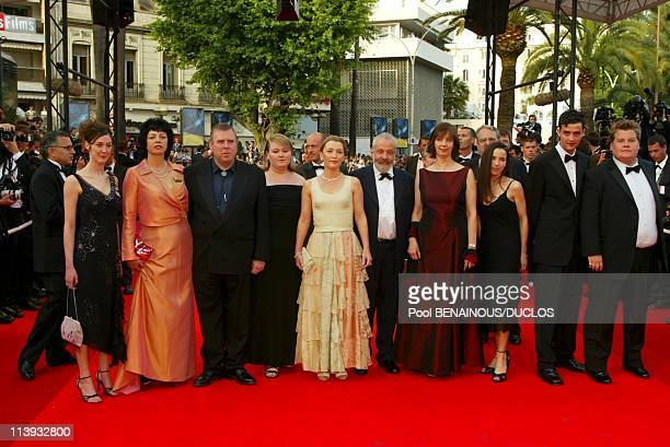 55th Cannes film festival Stairs of All or nothing In Cannes France On May 17 2002Helen Coker Timothy Spall and wife Shane Alison Garland Lesley...