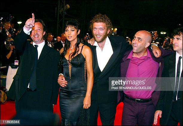 55th Cannes film festival Stairs of 'Irreversible' In Cannes France On May 24 2002Director Gaspar Noe Vincent Cassel Monica Bellucci Albert Dupontel