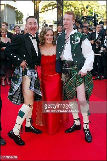 """55th Cannes film festival: Stairs of """"Sweet Sixteen"""" In Cannes, France On May 21, 2002-Martin Compston, Anne-Marie Fulton, William Ruane ."""
