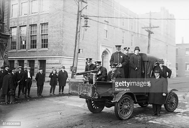 5/6/1919Lawrence Massachusetts A machine gun mounted on a police truck that is patrolling the streets of Lawrence MA where striking textile workers...