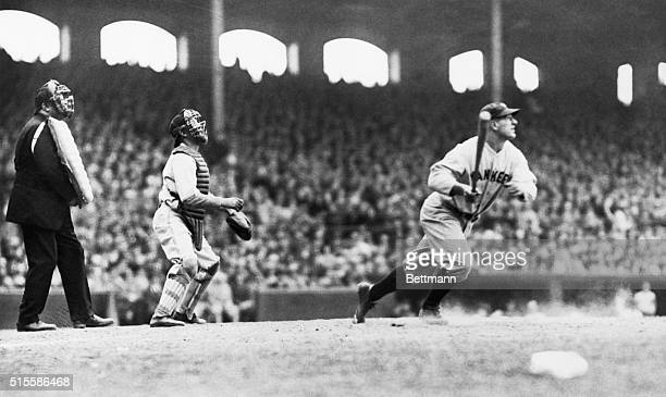 Lou Gehrig completes a swing for a homer following Babe Ruth's in the seventh inning of the White SoxYankee game Lou hit three homers in that one...
