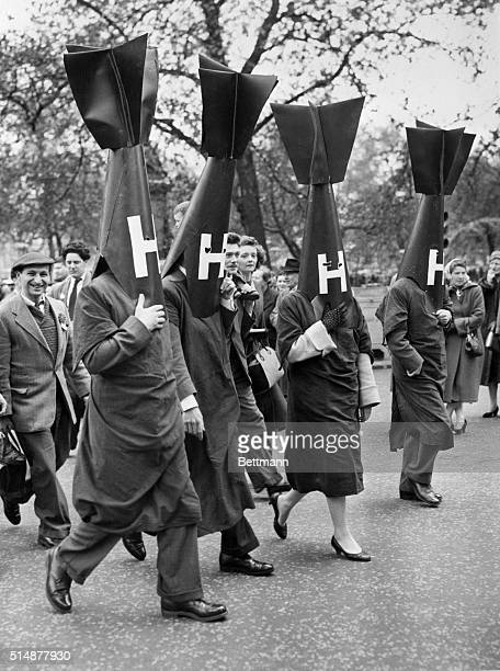 5/6/1957London England Fitted out as 'Hbombs' these demonstrators in London are marching to Hyde Park in a 'ban the bomb' protest parade staged by...