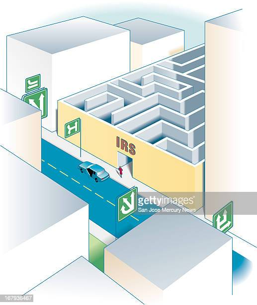 56p x 66p Doug Griswold color illustration for annual tax guide for 1999 Shows woman leaving car and confusing highway to enter into the maze of the...