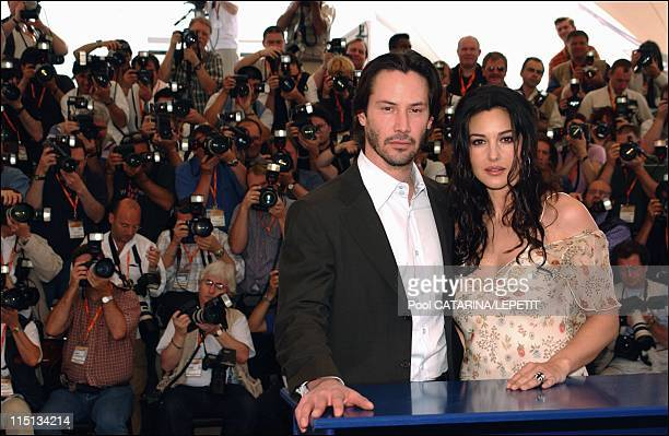 56th Cannes Film Festival PhotoCall of The Matrix Reloaded in Cannes France on May 15 2003 Keanu Reeves and Monica Bellucci