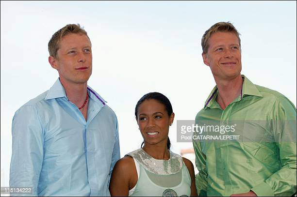 56th Cannes Film Festival PhotoCall of 'The Matrix Reloaded' in Cannes France on May 15 2003 Neil and Adrian Rayment with Jada Pinkett Smith