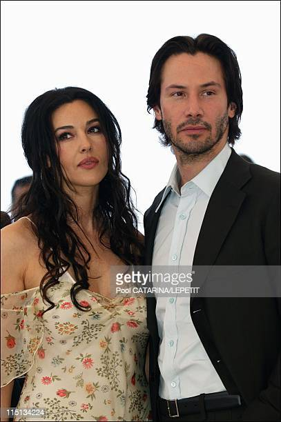 56th Cannes Film Festival PhotoCall of The Matrix Reloaded in Cannes France on May 15 2003 Monica Bellucci and Keanu Reeves