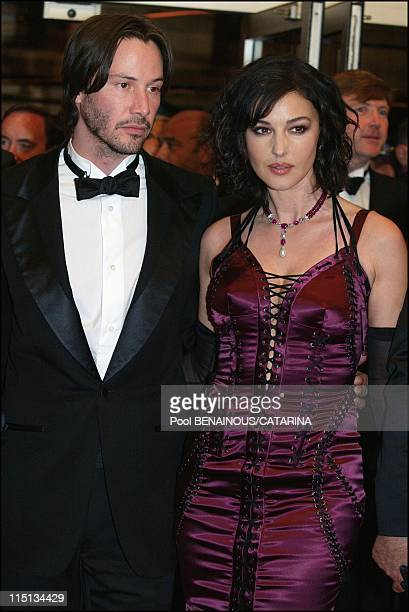 56th Cannes Film Festival Stairs of The Matrix reloaded in Cannes France on May 15 2003 Keanu Reeves and Monica Bellucci