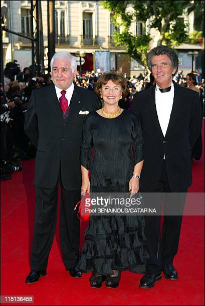 56th International Cannes Film Festival Stairs of The Tulse Luper suitcases part 1 in Cannes France on May 24 2003 JeanClaude Brialy Jacques Lang and...