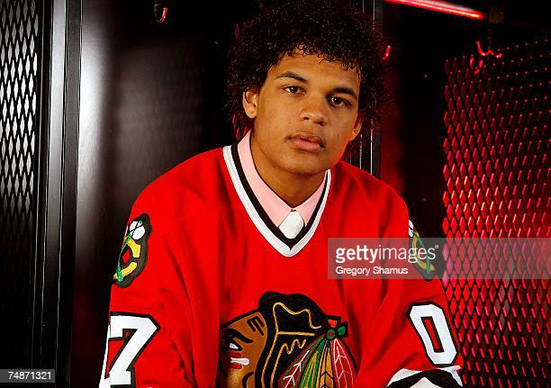 56th overall draft pick Akim Aliu of the Chicago Blackhawks poses for a portrait during the 2007 NHL Entry Draft at Nationwide Arena on June 23 2007...