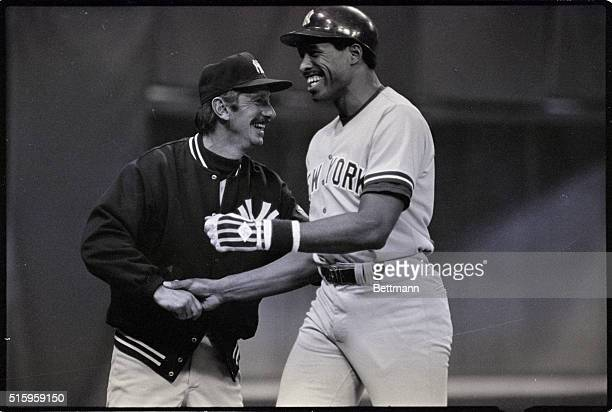 5/7/1983Minneapolis MNNew York Yankees manager Billy Martin congratulates Dave Winfield after Winfield's firstinning home run against the Minnesota...